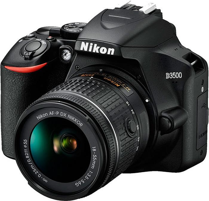 Зеркальная фотокамера Nikon D3500 18-55mm non VR, цвет: черный зеркальный фотоаппарат nikon d3400 kit 18 55mm f 3 5 5 6 vr af p черный
