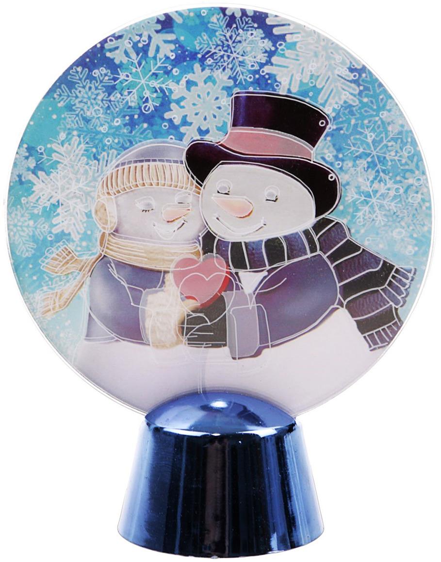цена на Подставка с динамикой Luazon Lighting Влюбленные снеговики, цвет: белый, 2 LED, 11,5 см