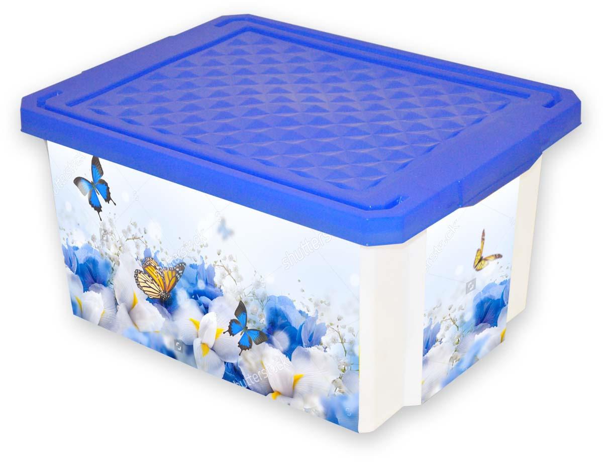 Ящик для хранения BranQ Optima Лето, цвет: мультиколор, 12 л ящик для хранения branq optima на колесиках цвет синий прозрачный 57 л