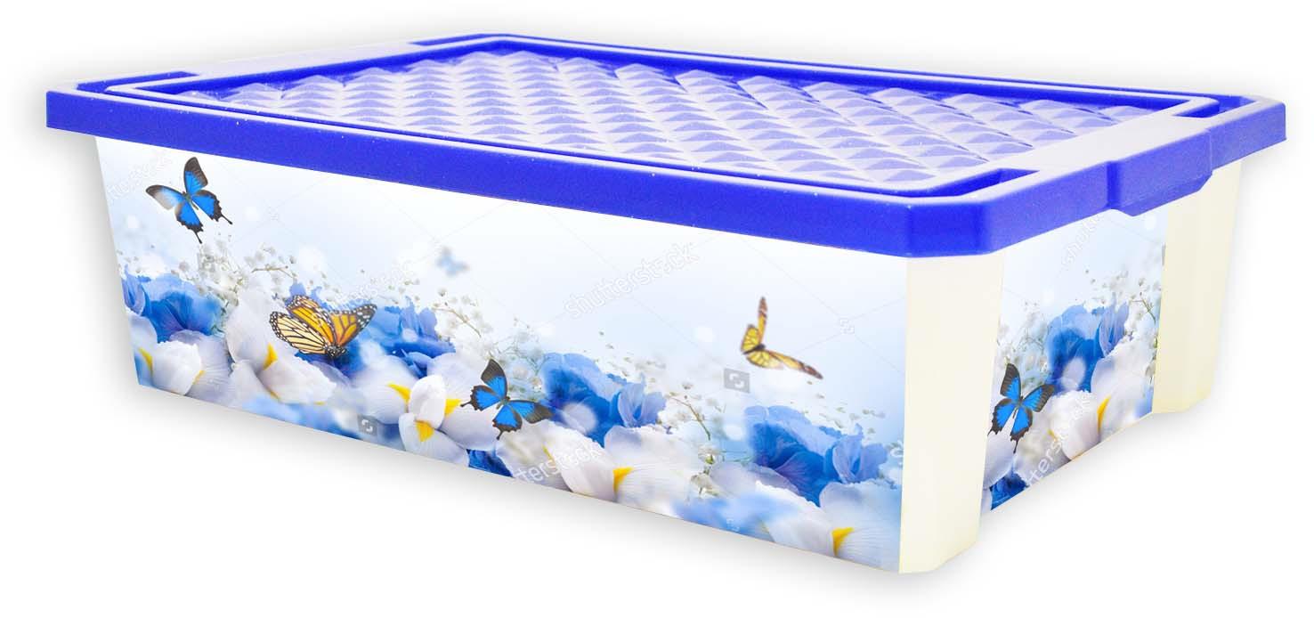 Ящик для хранения BranQ Optima Лето, цвет: мультиколор, 30 л ящик darel box с крышкой цвет салатовый прозрачный 18 л