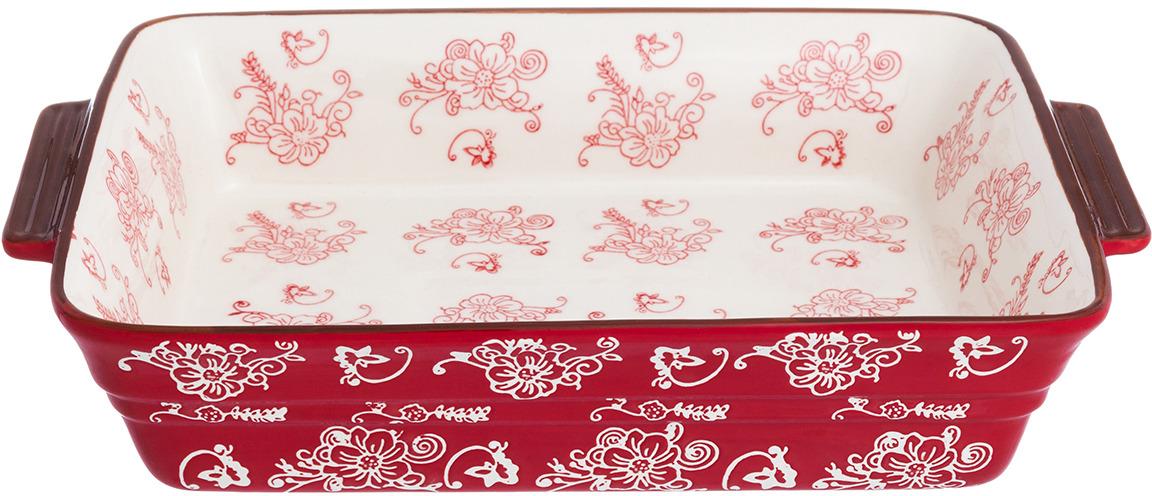 Блюдо для запекания Elan Gallery Цветочная симфония, цвет: красный, 2,7 л блюдо для запекания elan gallery цветочная симфония цвет красный 1 6 л