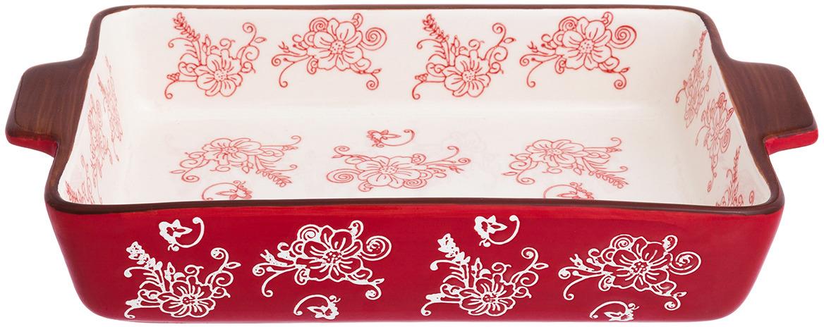 Блюдо для запекания Elan Gallery Цветочная симфония, цвет: красный, 2 л блюдо для запекания elan gallery цветочная симфония цвет красный 1 6 л