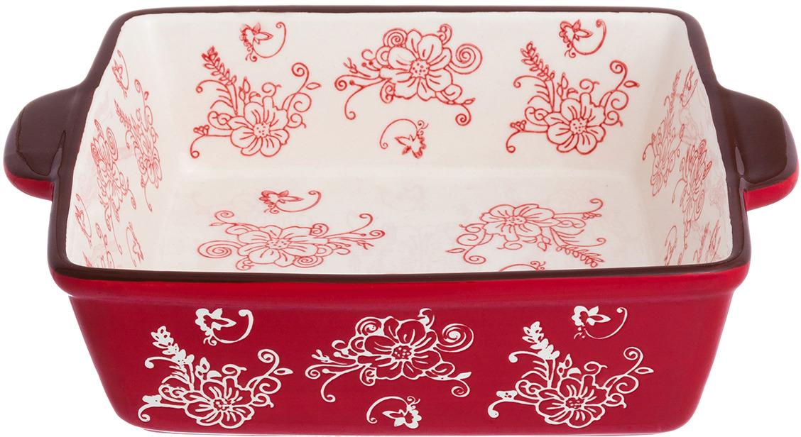 Блюдо для запекания Elan Gallery Цветочная симфония, цвет: красный, 1,6 л блюдо для запекания elan gallery цветочная симфония цвет красный 1 6 л