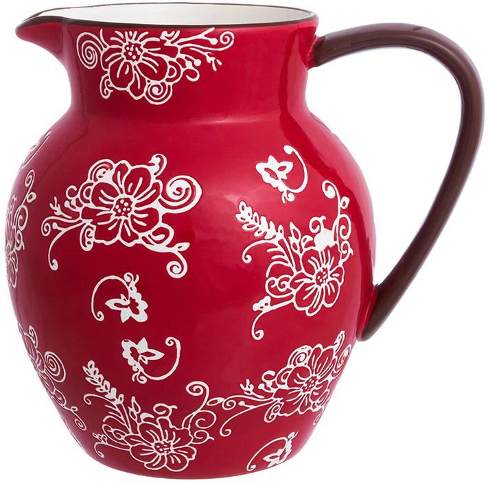 Кувшин Elan Gallery Цветочная симфония, цвет: красный, 1,2 л
