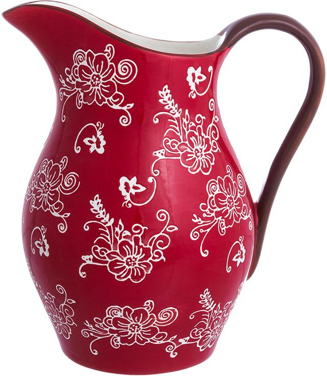 Кувшин Elan Gallery Цветочная симфония, цвет: красный, 1,6 л блюдо для запекания elan gallery цветочная симфония цвет красный 1 6 л