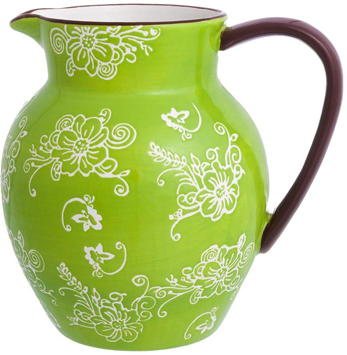 Кувшин Elan Gallery Цветочная симфония, цвет: зеленый, 1,2 л блюдо для запекания elan gallery цветочная симфония цвет красный 1 6 л
