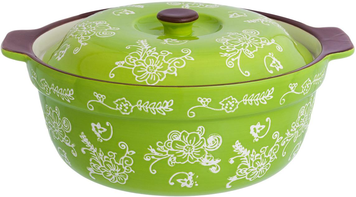 Кастрюля для запекания Elan Gallery Цветочная симфония, с крышкой, цвет: зеленый, 1,8 л блюдо для запекания elan gallery цветочная симфония цвет красный 1 6 л