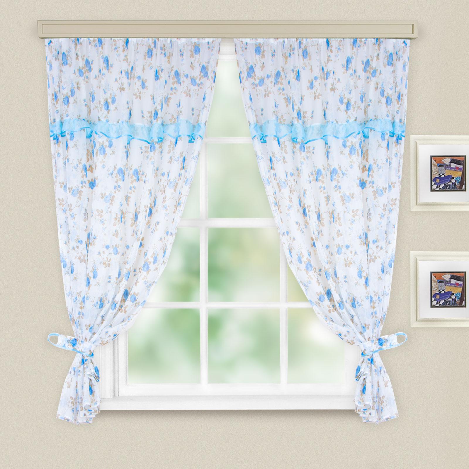 Комплект штор для кухни Witerra Цветы, цвет: голубой, на ленте, 280 х 160 см обои для кухни фото