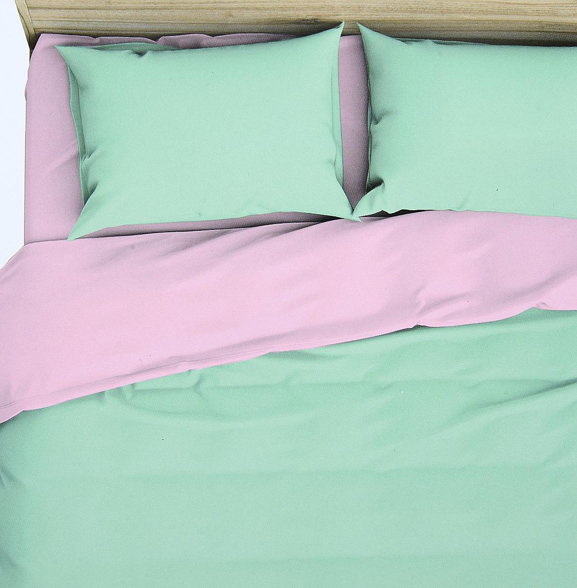 Комплект белья Василиса Мятная дымка, 2-спальный, наволочки 70x70, цвет: зеленый, розовый. 363 philip plein интернет магазин