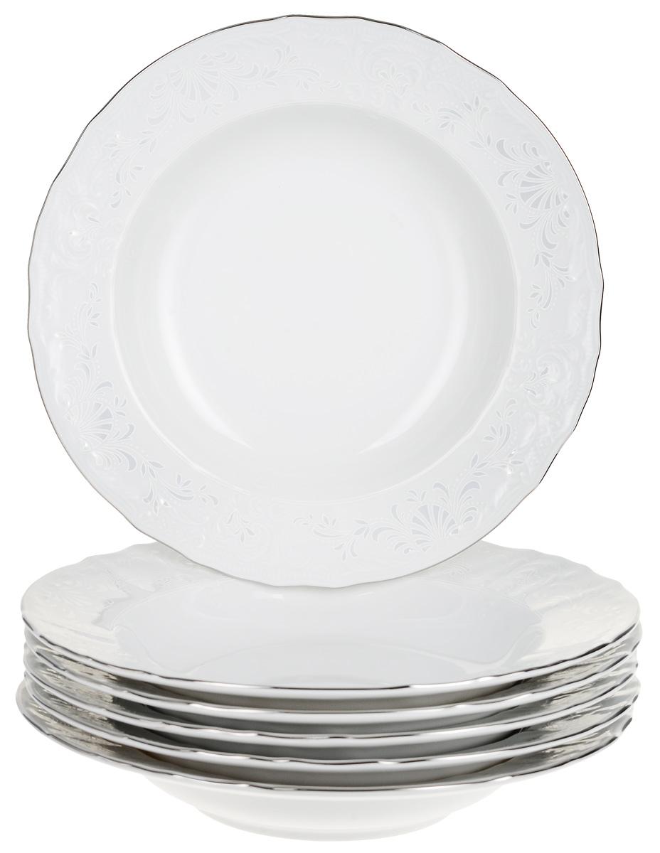 """Тарелка глубокая Thun """"Деколь. Отводка платина"""", диаметр 23 см, 6 шт"""