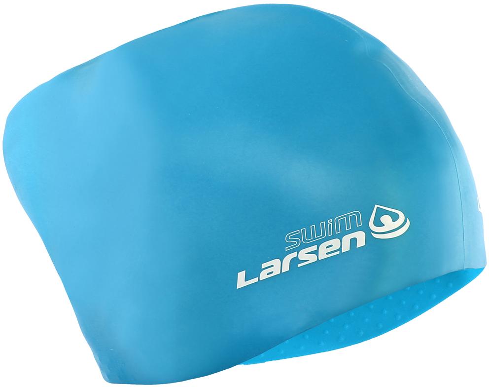 Шапочка для плавания Larsen, для длинных волос, цвет: голубой larsen f 100a