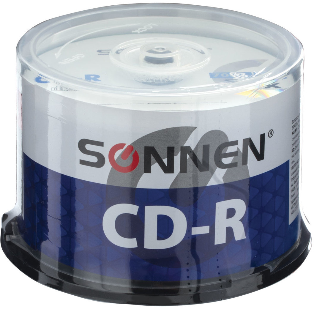 цены на Диск CD-R Sonnen 51257, 700Mb 52x Cake Box, 50 шт  в интернет-магазинах