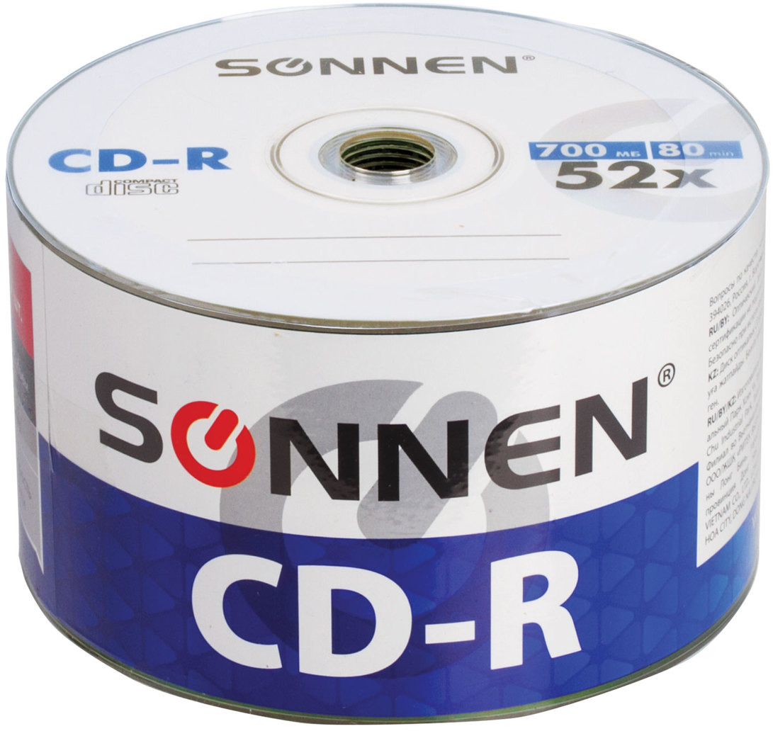 цены на Диск CD-R Sonnen 512571, 700Mb 52x Bulk, 50 шт  в интернет-магазинах