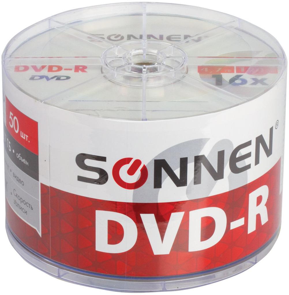 Диск DVD-R Sonnen 512574, 4,7Gb 16x Bulk, 50 шт дятел dvd r 16 серия скорость движения 4 7 г диски оранжевый ствол 50