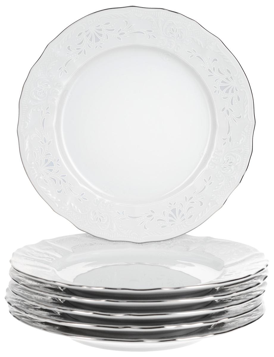 """Тарелка десертная Thun """"Деколь. Отводка платина"""", диаметр 19 см, 6 шт"""