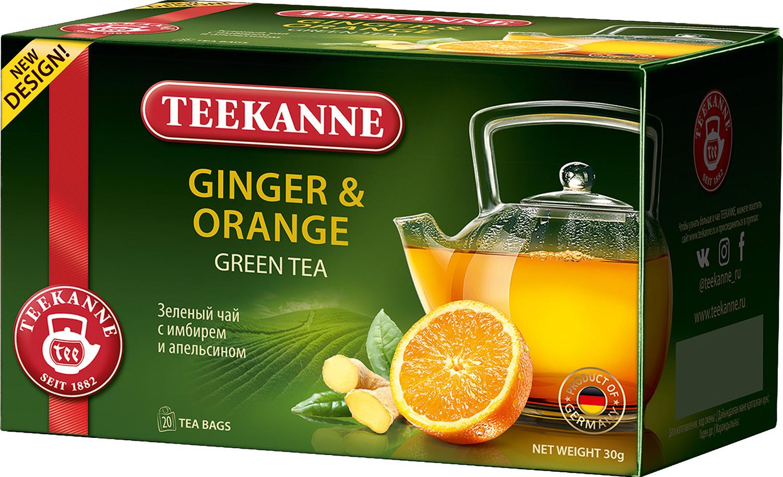 Чай зеленый Teekanne Ginger & Orange c имбирём и апельсином в пакетиках, 20 шт