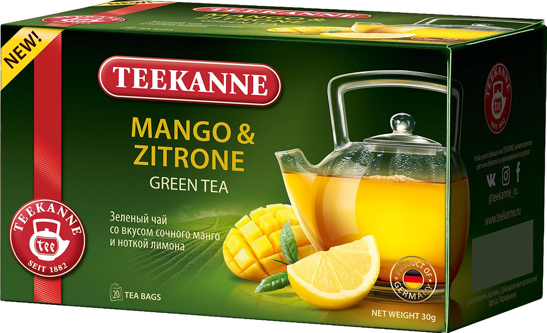 Чай зеленый Teekanne Mango & Citrone с манго и цитрусовыми в пакетиках, 20 шт