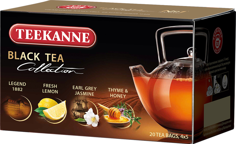 Чай черный Teekanne Black Tea Collection ароматизированный четырех видов в пакетиках, 20 шт недорго, оригинальная цена