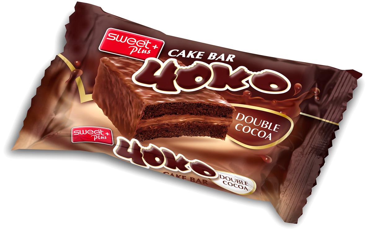 Пирожное бисквитное Sweet + Plus Чоко, со вкусом шоколада, с какао-кремовой начинкой в какао-молочной глазури, 52 г