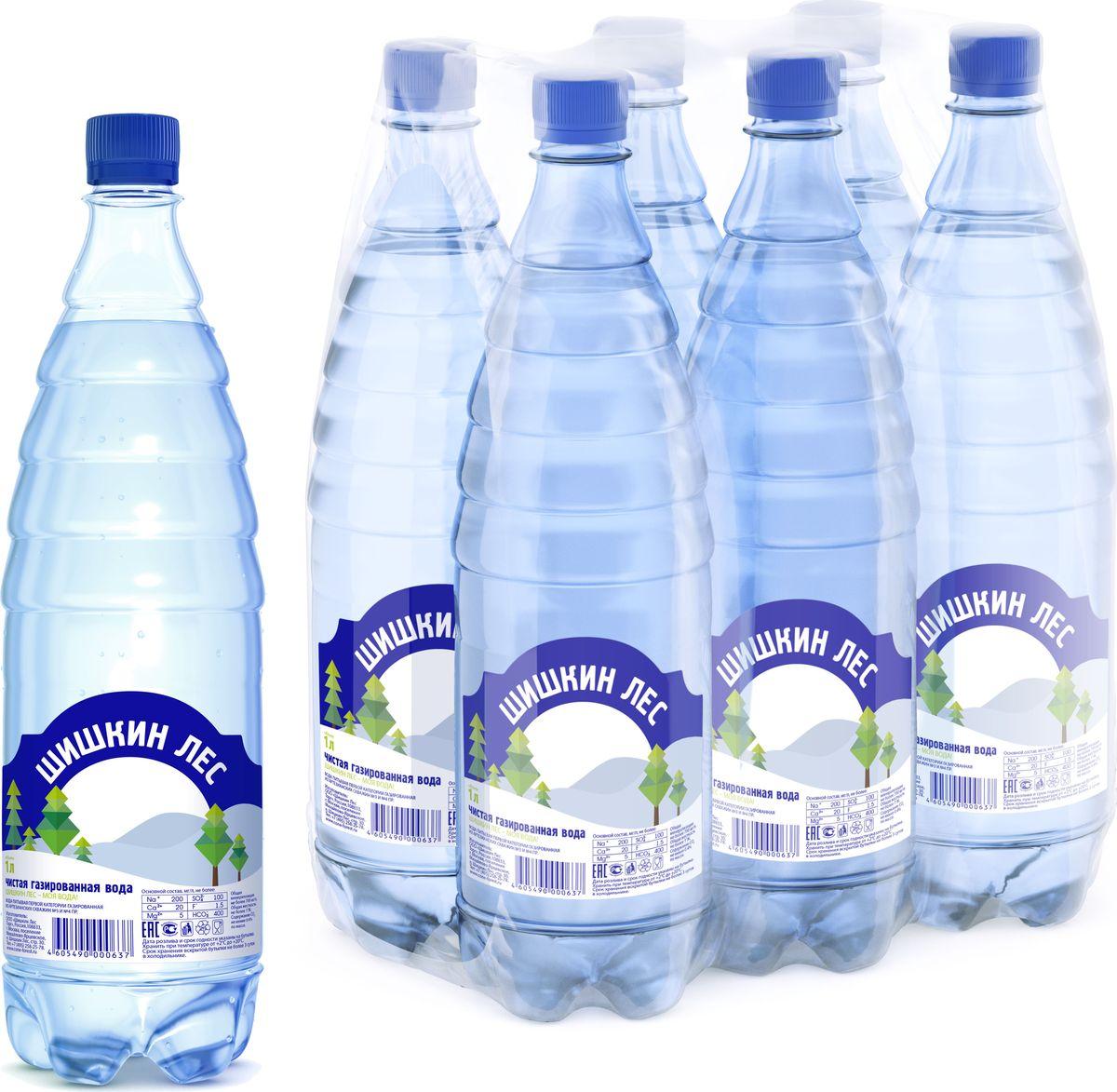 Вода питьевая газированная Шишкин лес, 6 шт по 1 л шишкин лес вода питьевая 1 л