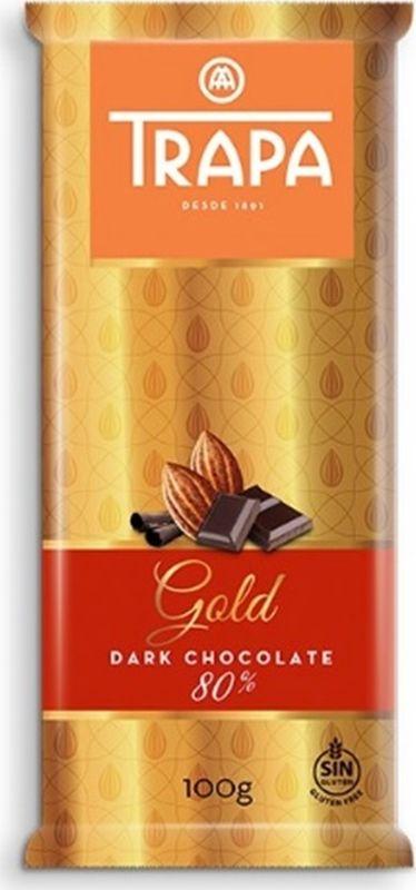 Горький шоколад Trapa Gold Bar, 80%, 100 г цены