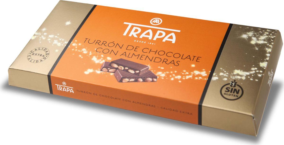 Молочный шоколад Trapa Turron, с цельным миндалем, 200 г молочный шоколад trapa corazоn bar с апельсиновой начинкой 100 г