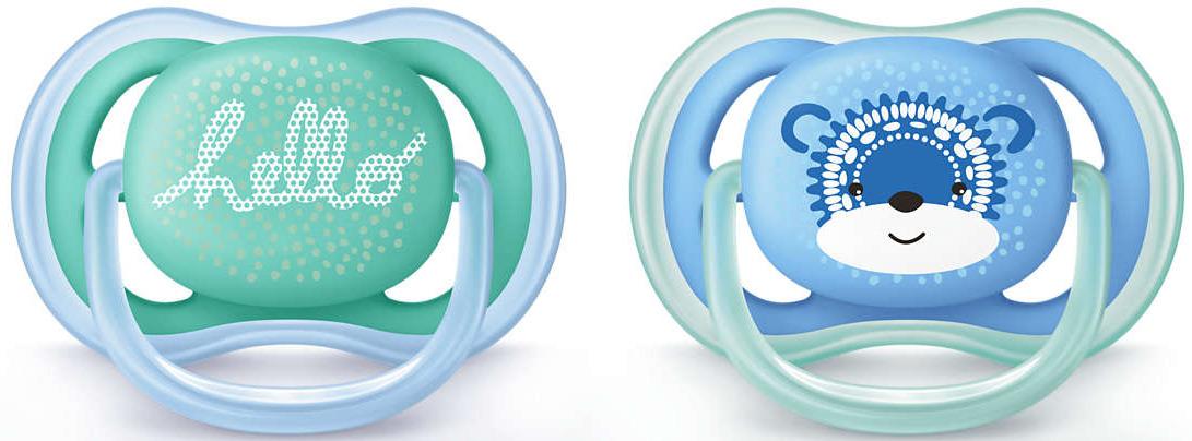 Пустышка силиконовая Philips Avent Ultra Air с рисунком для мальчиков от 6 до 18 месяцев, 2 шт. SCF342/22 пустышка силиконовая philips avent ultra air для мальчиков от 0 до 6 месяцев 2 шт scf244 20