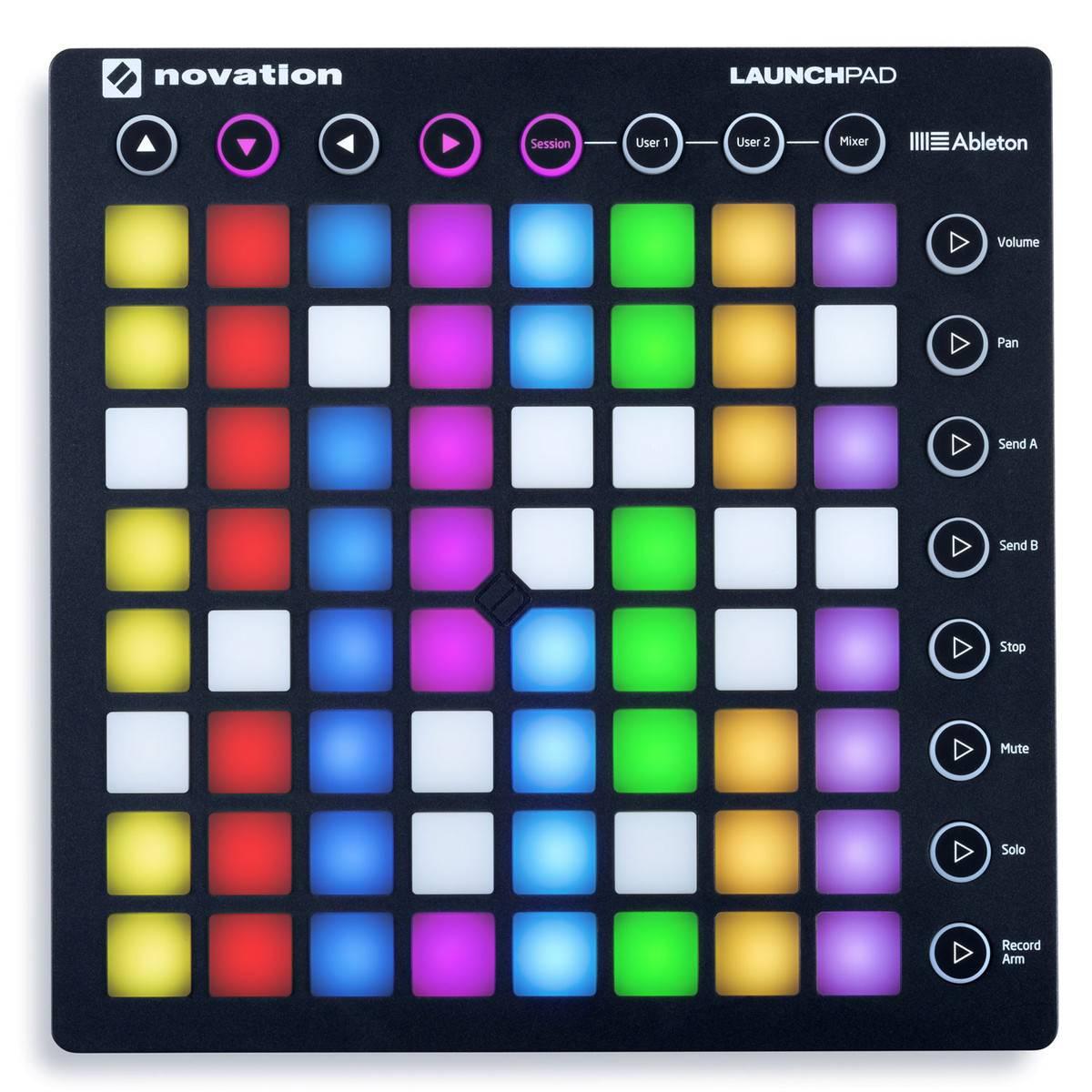MIDI-контроллер NOVATION LAUNCHPAD MK2, компактный, для Ableton Live, 64 квадратных пэдов, цвет:черный midi контроллер novation launchpad mk2 компактный для ableton live 64 квадратных пэдов цвет черный