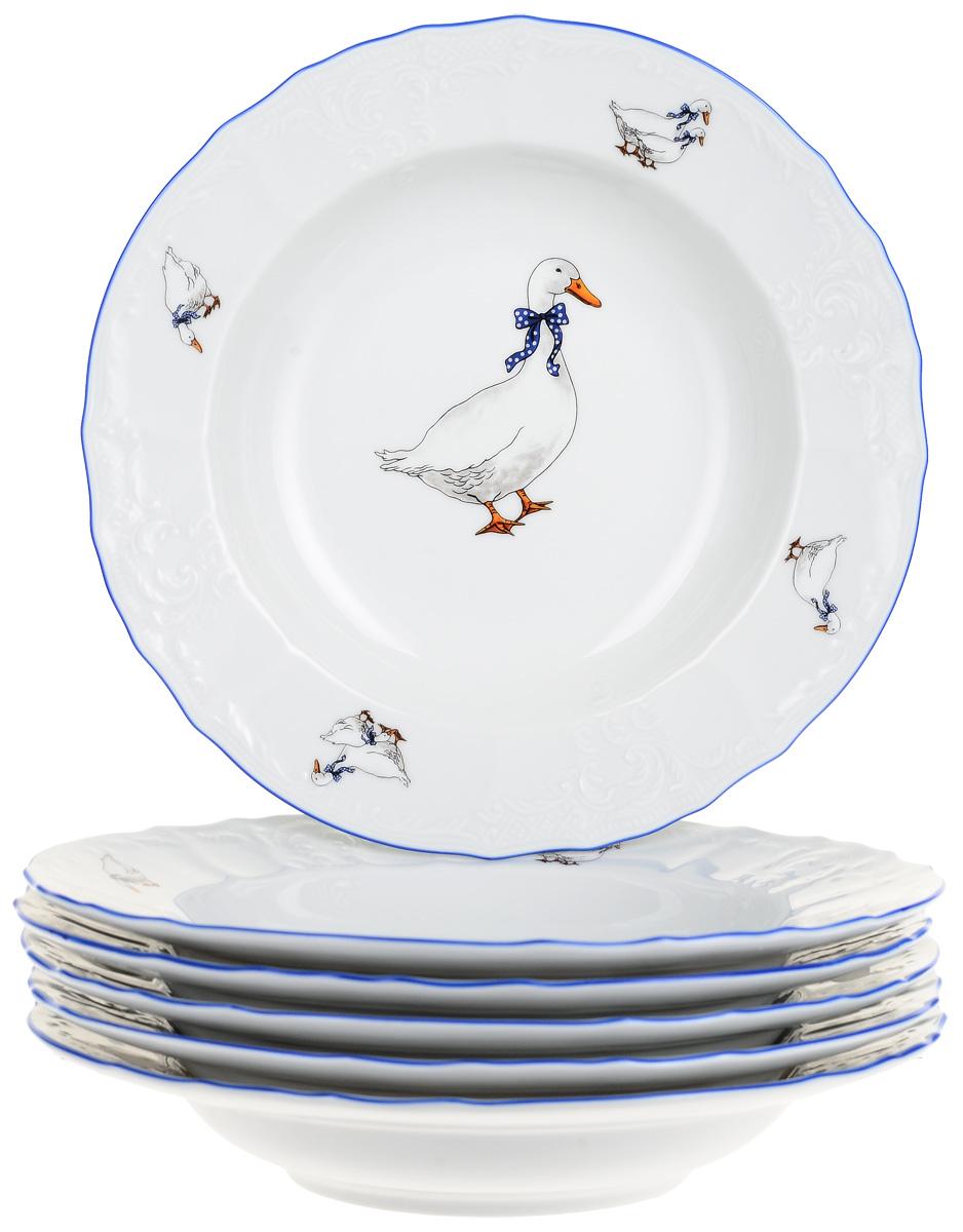 "Тарелка глубокая Thun ""Гуси"", диаметр 23 см, 6 шт"