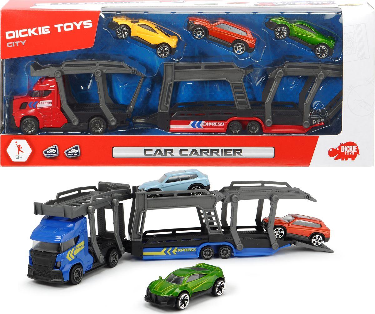 Автовоз Dickie Toys City, 28 см + 3 машинки, цвет в ассортименте dickie toys набор машинок car trailer 5 шт