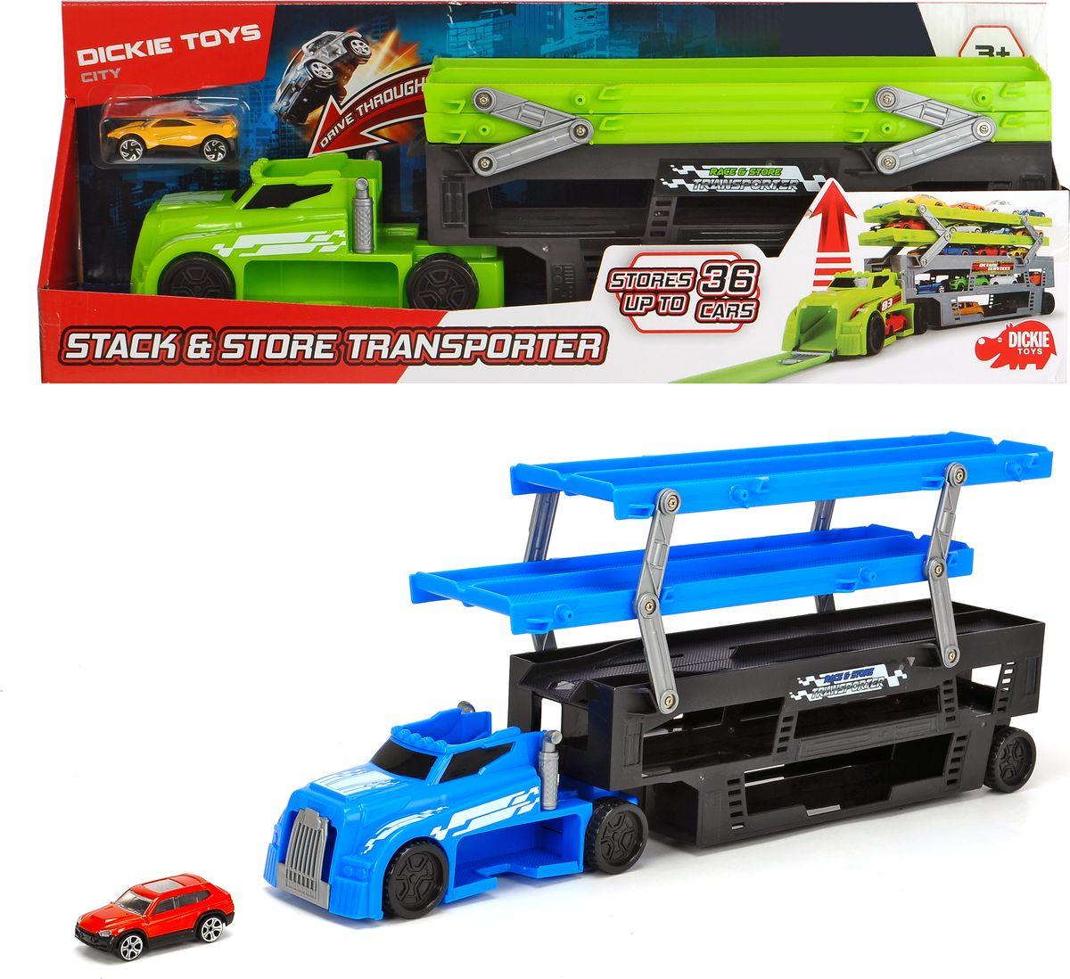 Автовоз Dickie Toys City, цвет: зеленый, 44,5 см + 1 машинка dickie toys набор машинок car trailer 5 шт