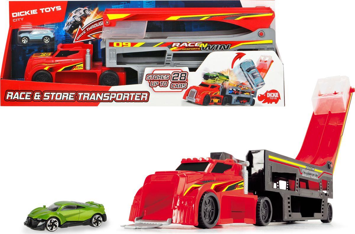 Автовоз Dickie Toys City, цвет: красный, 44,5 см + 1 машинка