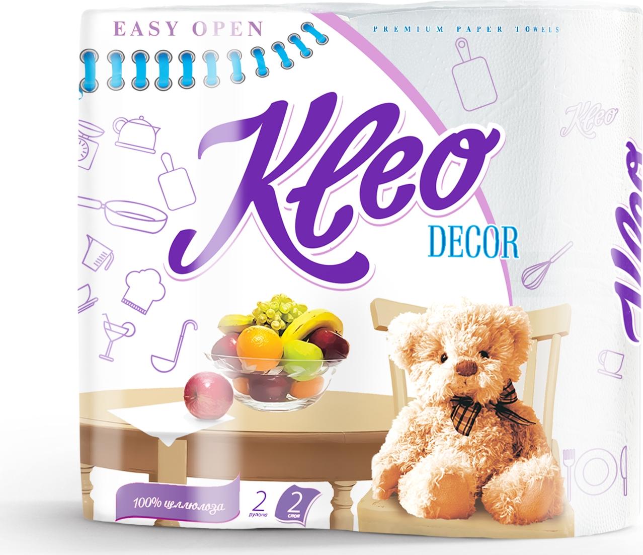 Полотенца бумажные Kleo Decor, двухслойные, цвет: белый, 2 рулона полотенца бумажные мягкий знак двухслойные цвет белый 4 рулона