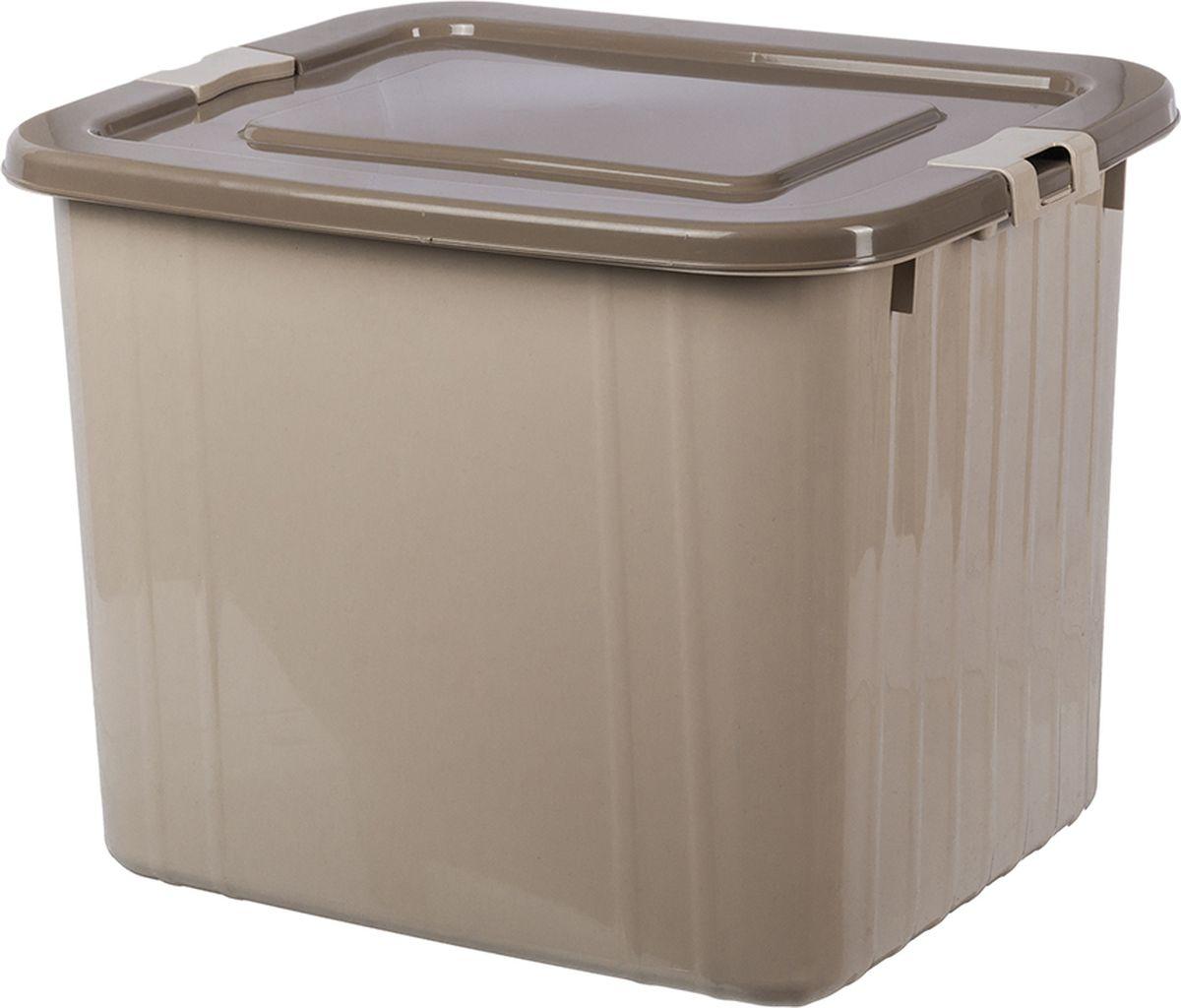 Ящик для хранения Violet, с крышкой, цвет: бежевый, 40 х 50 х 40 см ящик пластиковый ротанг 46 л