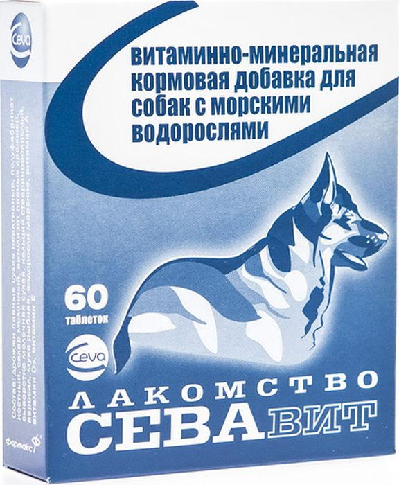 Поливитамины Ceva для собак, с Водорослями, 60 таблеток поливитамины ceva для собак с протеином 60 таблеток