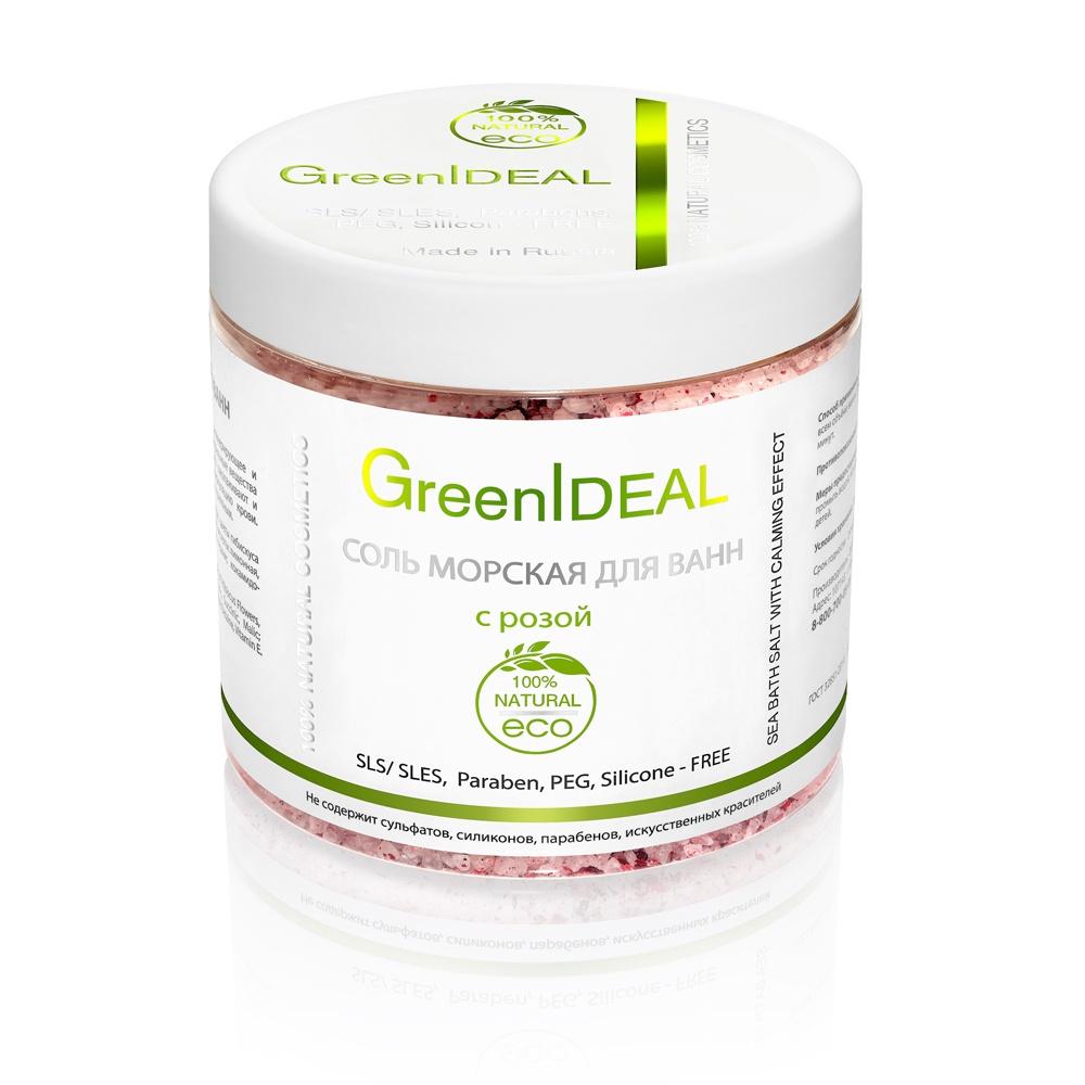 Соль для ванны GreenIdeal Соль морская для ванн с розой (натуральная) недорого
