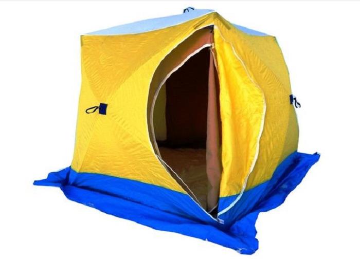 Палатка рыбака Стэк КУБ, трехместная, двухслойная, цвет: голубой, желтый, синий