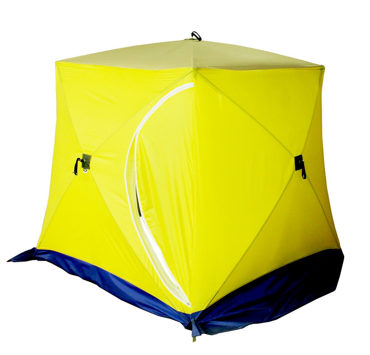 Палатка рыбака Стэк КУБ-1, одноместная, двухслойная, цвет: желтый, синий