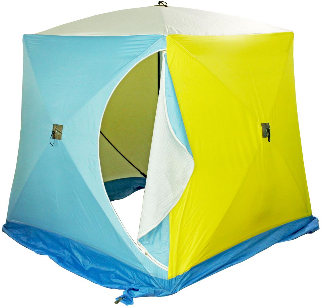 Палатка рыбака Стэк КУБ-1, одноместная, трехслойная, цвет: белый, голубой, желтый, синий