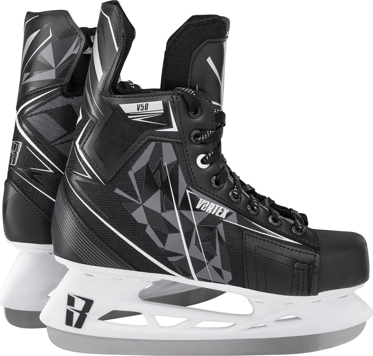 Коньки хоккейные мужские Ice Blade Vortex V50 1/6, цвет: черный, серый, белый. УТ-00013052. Размер 40УТ-00013052Модель коньков любительского уровня для активного отдыха на искусственном или натуральном льду. Увеличенная жесткость ботинка. Анатомически выверенная форма колодки обеспечивает оптимальную посадку конька. Комбинированный тканевый верх ботинка извойлока толщиной 5 мм защищает ступню от передавливания шнурками.Увеличенная жесткость ботинкаКомбинированный тканевый верх ботинка из нейлонаМягкие вкладыши из EVA-пеныНосок из высокопрочного пластика (PVC)Язык из войлока толщиной 5 ммШирокий размерный рядОсновные характеристики:Назначение:хоккейные конькиТип фиксации:шнуркиРазмеры:33, 34, 35, 36, 37, 38, 39, 40, 41, 42, 43, 44, 45, 46, 47Цвет:черный/серый/белыйДополнительные характеристики:Материал ботинка: высокопрочная нейлоновая ткань, ударостойкий пластик (PVC)Внутренняя отделка: текстиль,EVA-пенаЛезвие:выполнено из высокоуглеродистой стали с покрытием из никеляУпаковка:Таблица размеровРазмер3637404144462222,523,5242525,526,52828,529,530,5