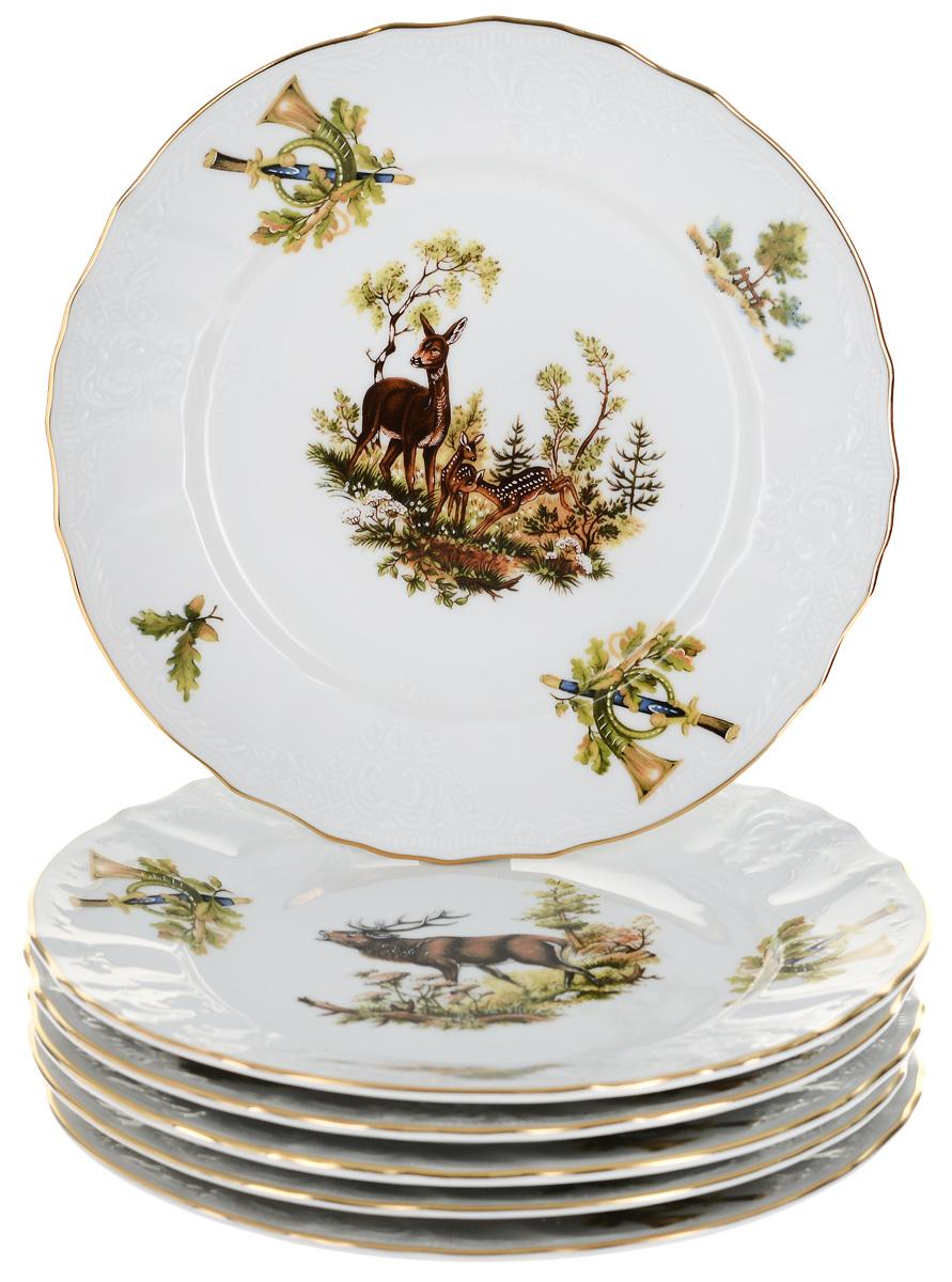 """Тарелка десертная Thun """"Охотничьи сюжеты"""", диаметр 19 см, 6 шт"""