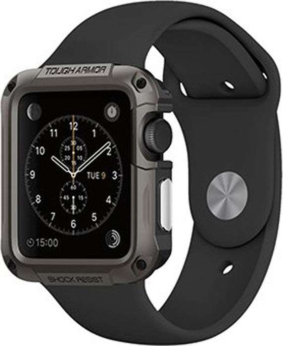 Чехол для смарт-часов Spigen Tough Armor для Apple Watch 1/2 (42 мм), темно-серый все цены