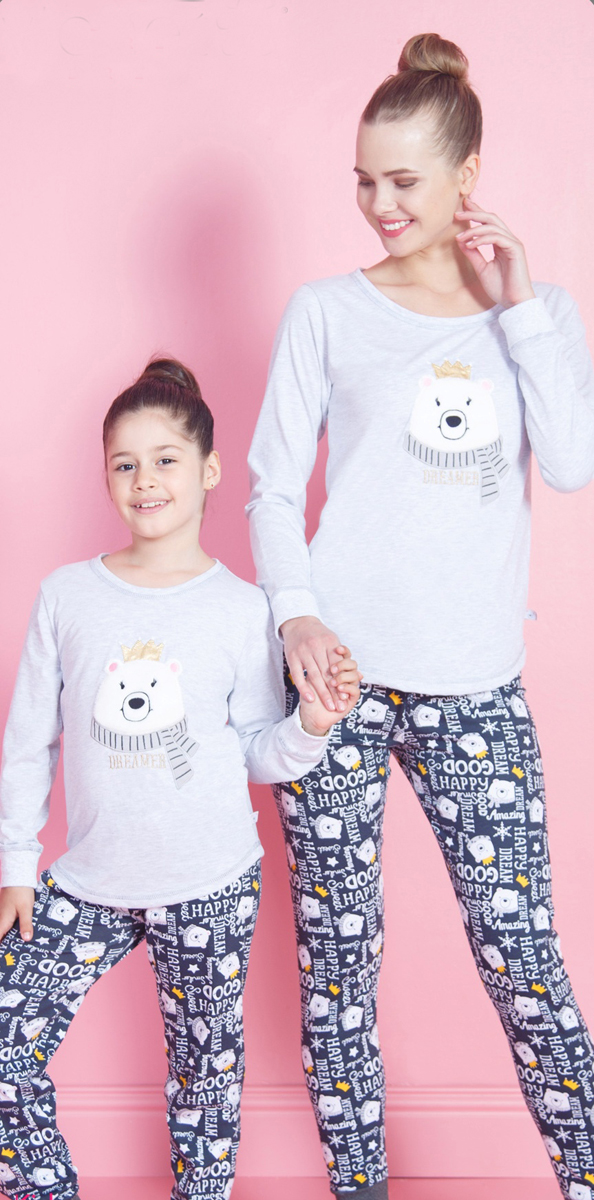 Домашний комплект женский Vienettas Secret Dream: кофта, брюки, цвет: серый меланж. 802034 7555. Размер XL (50)802034 7555Домашний комплект