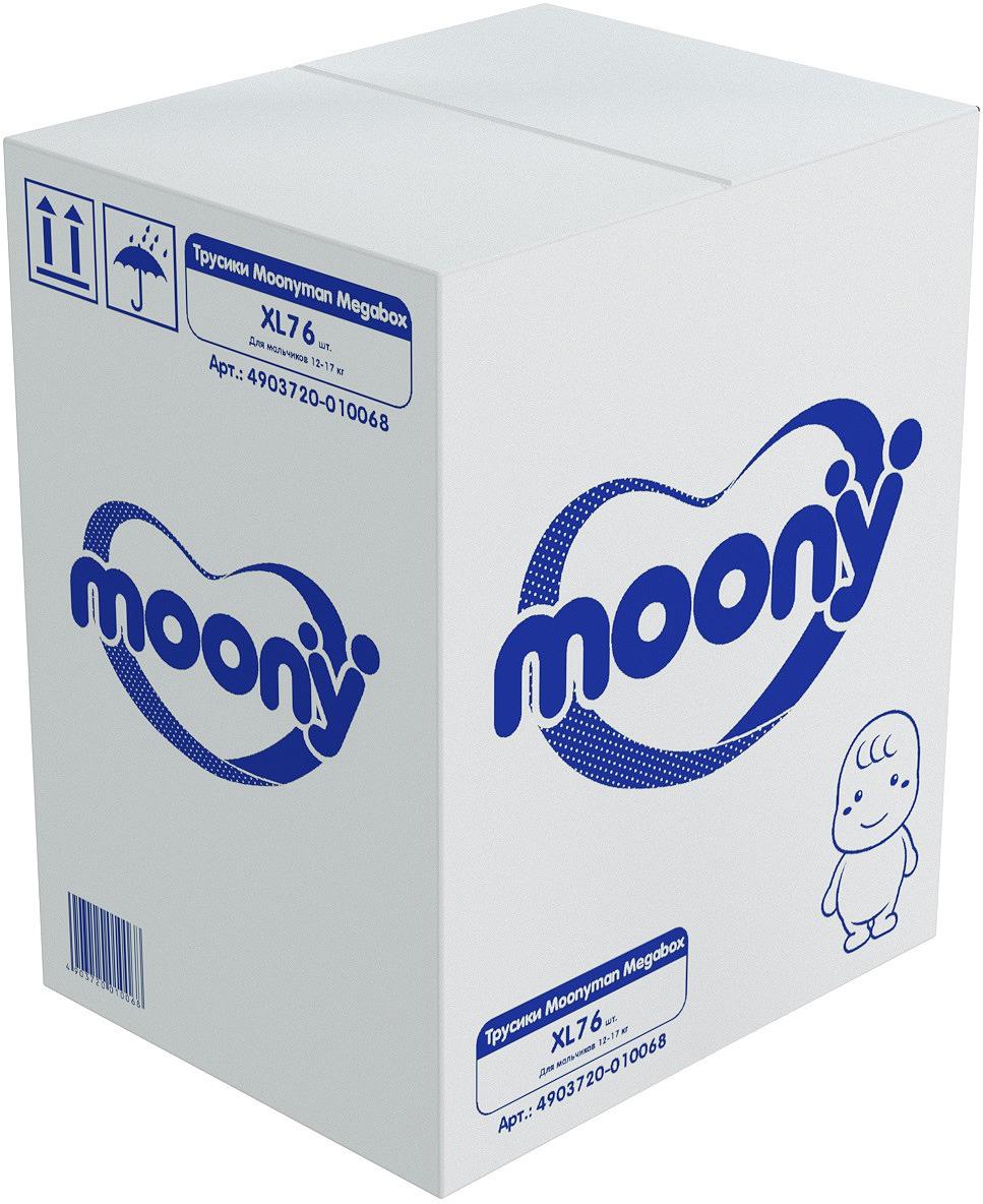 Подгузники-трусики Moony Man Megabox, для мальчика, 12-17 кг, размер XL, 4903720-010068, 76 шт трусики подгузники moony для девочек 12 17 кг 38 шт xl