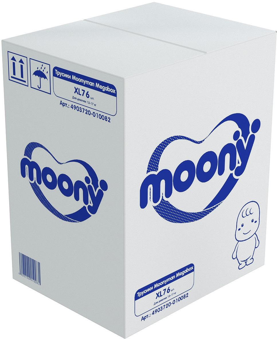 Подгузники-трусики Moony Man Megabox, для девочки, 12-17 кг, размер XL, 4903720-010082, 76 шт трусики подгузники moony для девочек 12 17 кг 38 шт xl