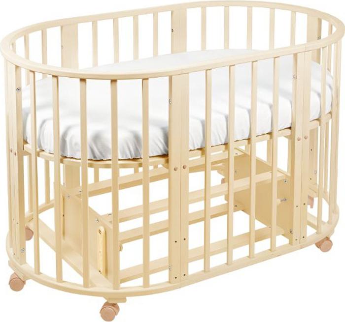 Кроватка-трансформер детская Sweet Baby Delizia, цвет: слоновая кость, 10 в 1, с маятником детская кроватка sweet baby mario nuvola bianca белое облако