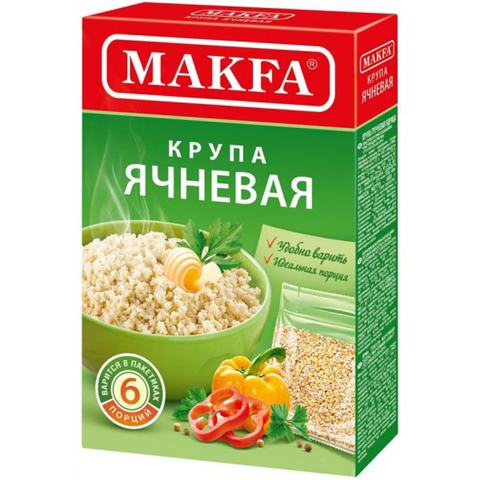 Makfaячневая крупа в пакетах для варки, 5 шт по 80 г Makfa
