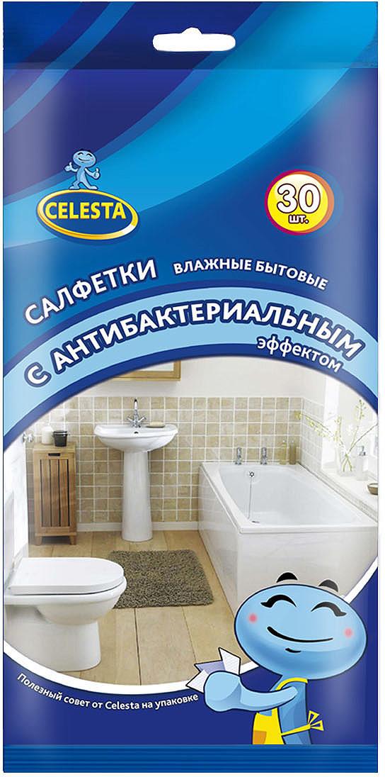 Салфетки влажные бытовые Celesta, 16396, с антибактериальным эффектом, 30 шт16396Салфетки влажные бытовые антибактериальные легко и быстро очищают любые поверхности в доме. Благодаря специальной пропитке , алфетки уничтожают бактерии и вирусы, дезинфицируют поверхности. Не оставляют разводов. Рекомендуем!