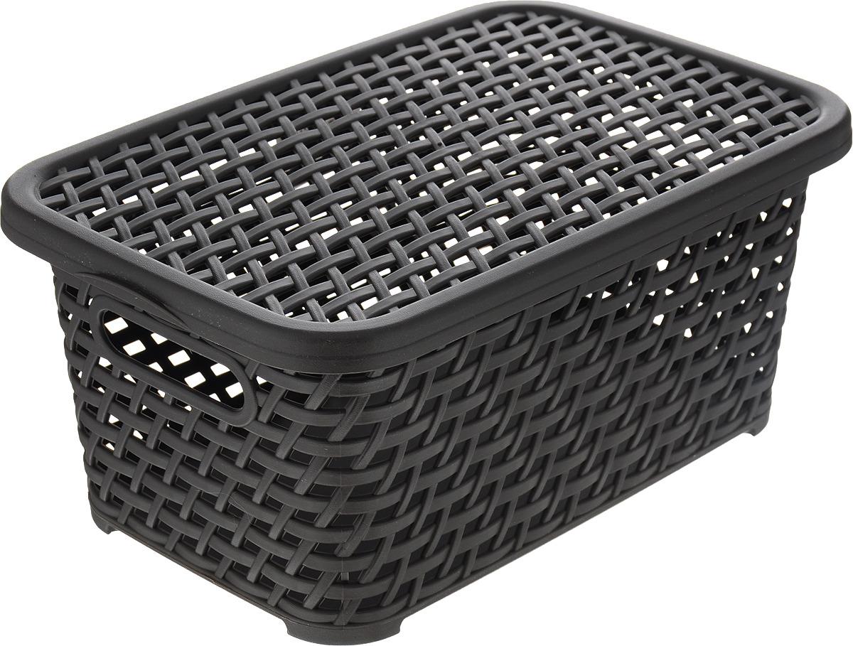 Ящик универсальный Idea Ротанг, с крышкой, цвет: темно-коричневый, 28 х 18,5 х 14,5 см ящик универсальный альтернатива раскладной цвет в ассортименте 38 5 х 25 5 х 21 см