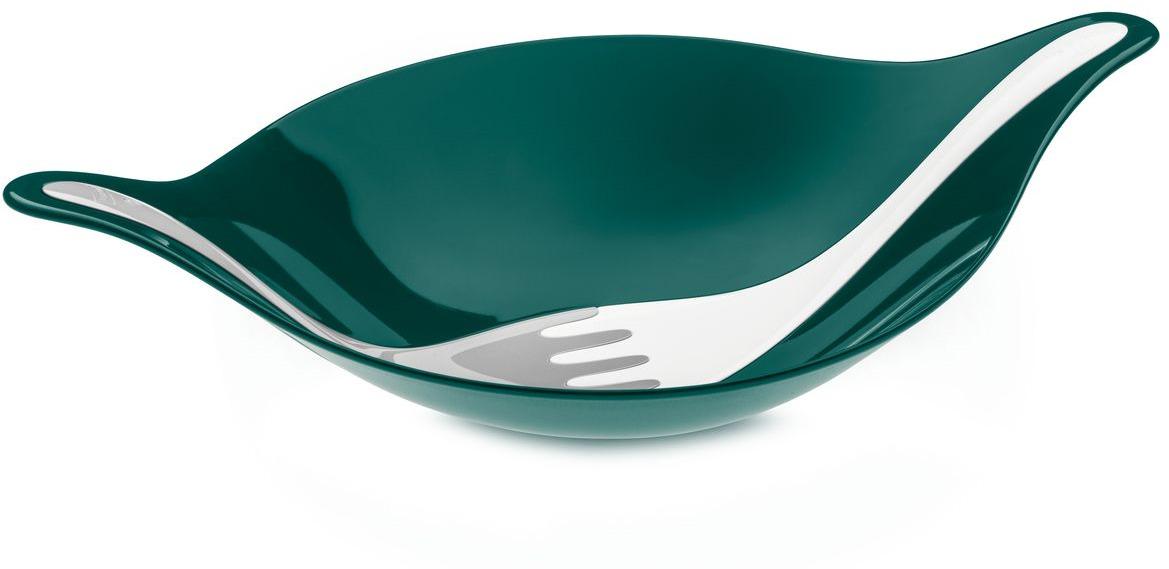 Салатник с приборами Koziol LEAF L+, цвет: зеленый, 3 л